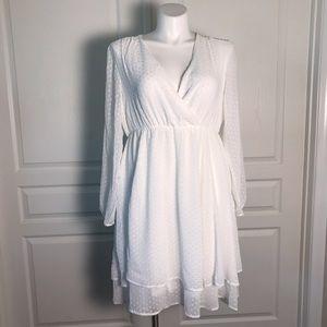 TORRID WHITE ONE WHITE TEXTURED POLKA DOT DRESS